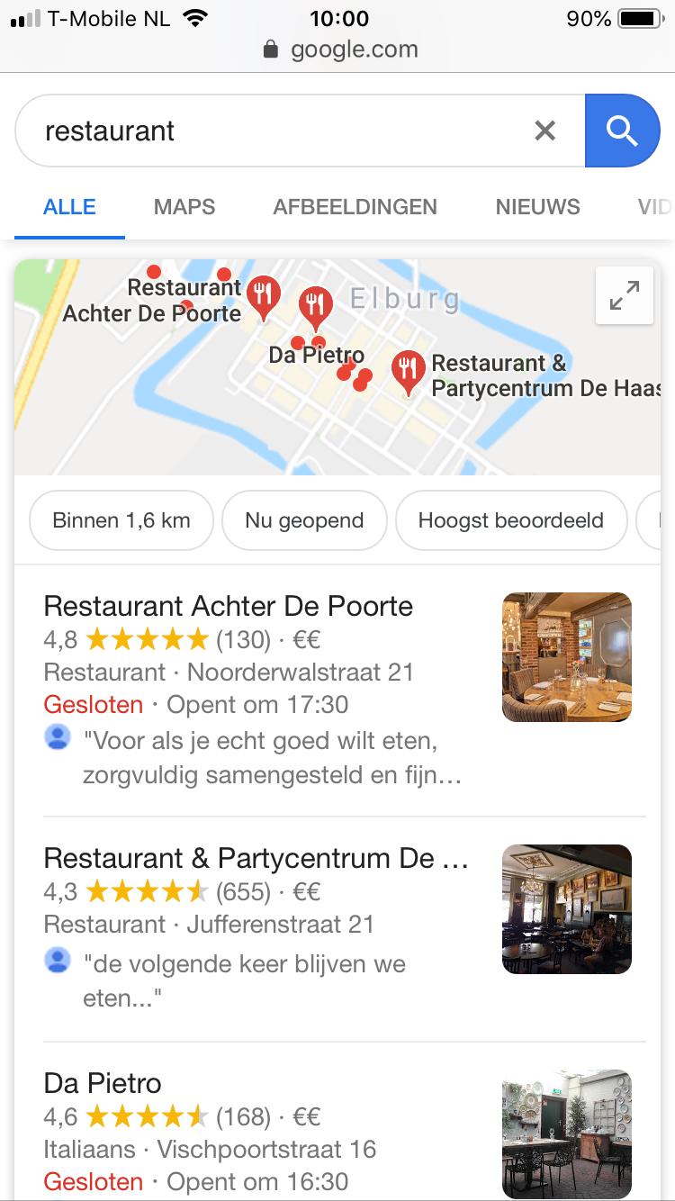 Voorbeeld van een lokaal zoekresultaat op mobiel