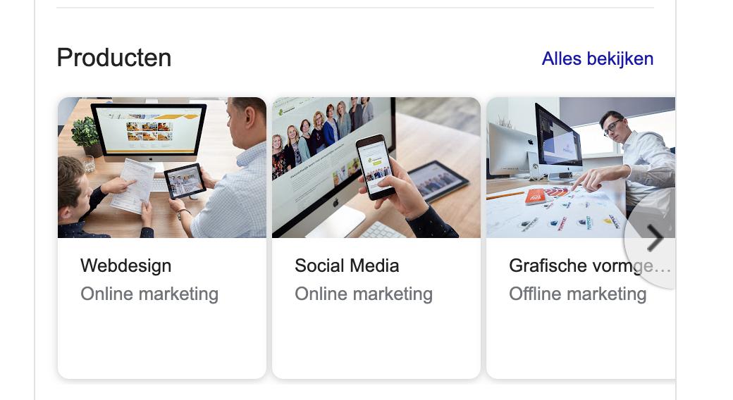 Producten Google Mijn bedrijf