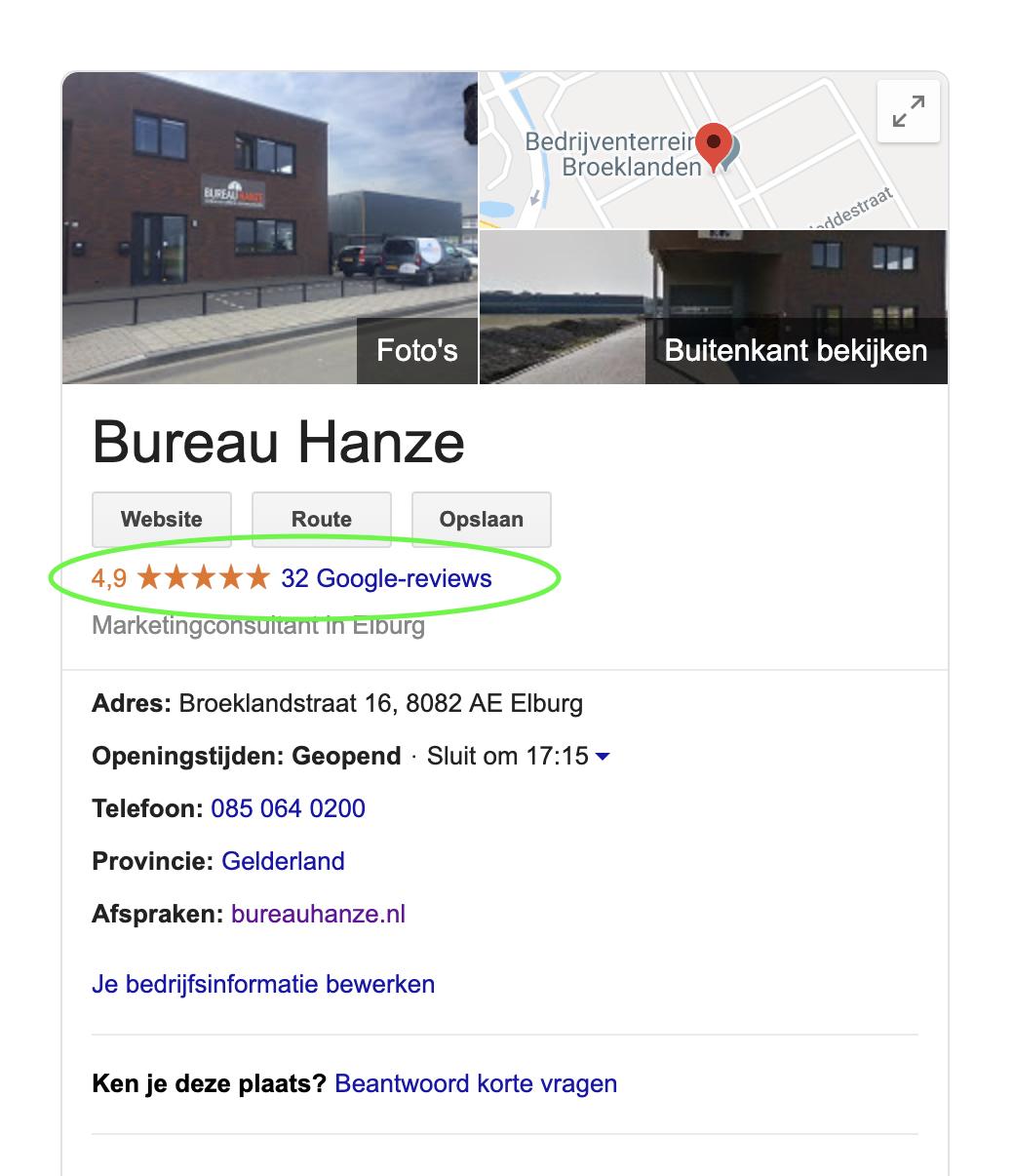 Recensies Google Mijn Bedrijf